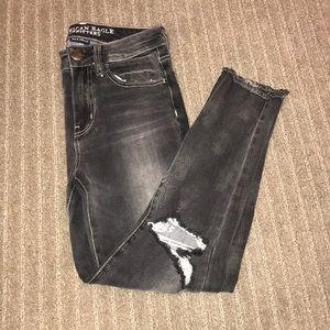 American eagle distressed dark wash jeans